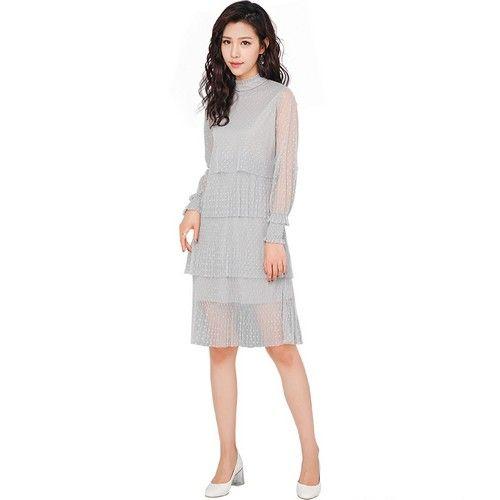灯笼袖纯色网上裙