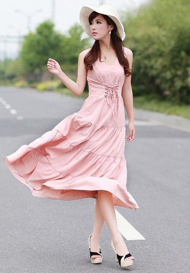 纯色高腰抽绳长裙第2张