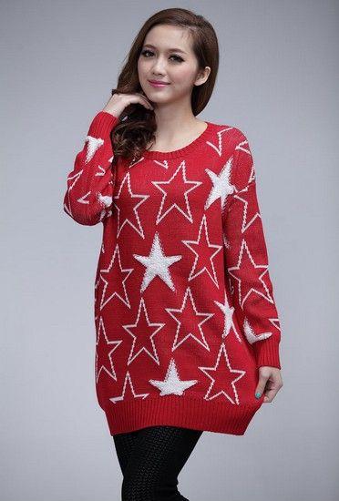 立体星星图案宽松针织衫第1张