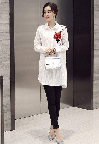 花朵刺绣长款衬衫第1张