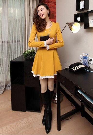 高腰长袖连衣裙第3张