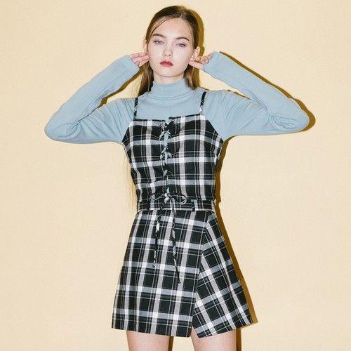 格子吊带半裙套装第1张