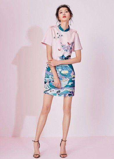 立领印花短袖裙第1张