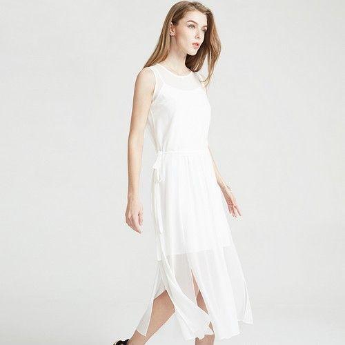 两件套开叉雪纺长连衣裙第1张