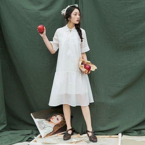 娃娃领纯色连衣裙第1张
