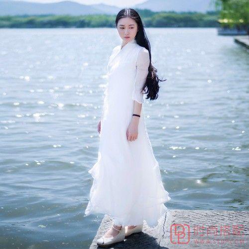 真丝汉风纯色连衣裙第4张