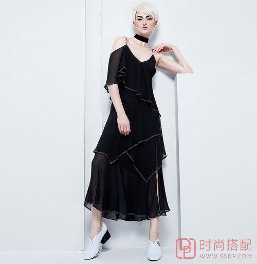 不规则吊带长裙第1张