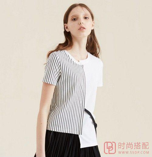 个性腰带不对称T恤第1张