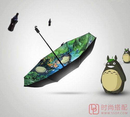 龙猫三折黑胶双层太阳伞第1张