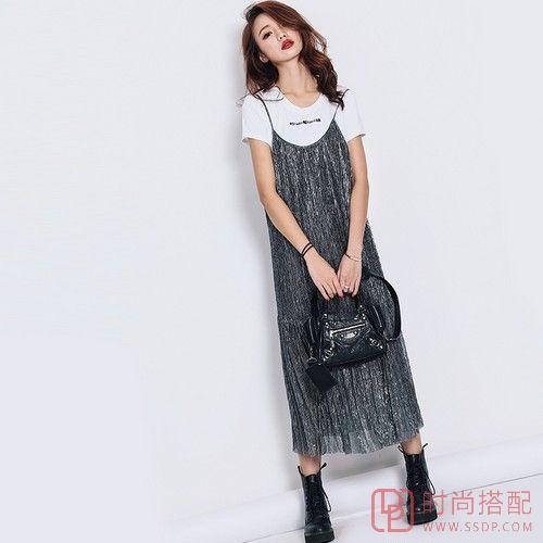 银丝V领吊带长裙第1张