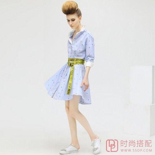 波点长袖收腰连衣裙第1张