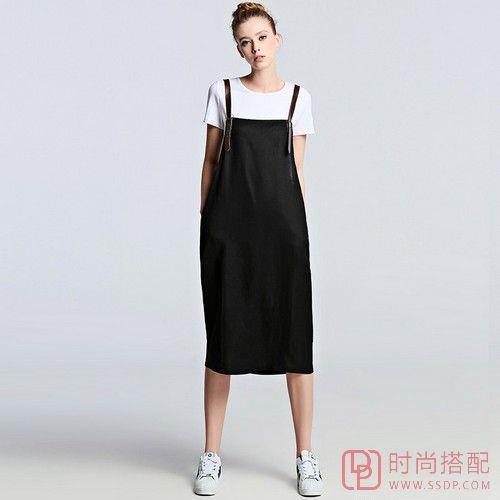 棉麻拼接背带裙第1张