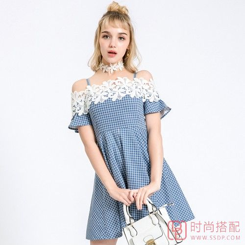 蕾丝拼接格子连衣裙第1张
