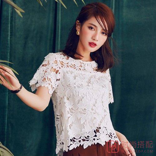 蕾丝镂空短袖衫第1张