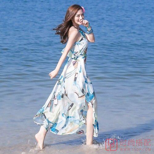 波西米亚吊带露背沙滩裙第1张