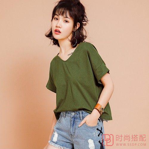 纯色全棉短袖T恤第1张