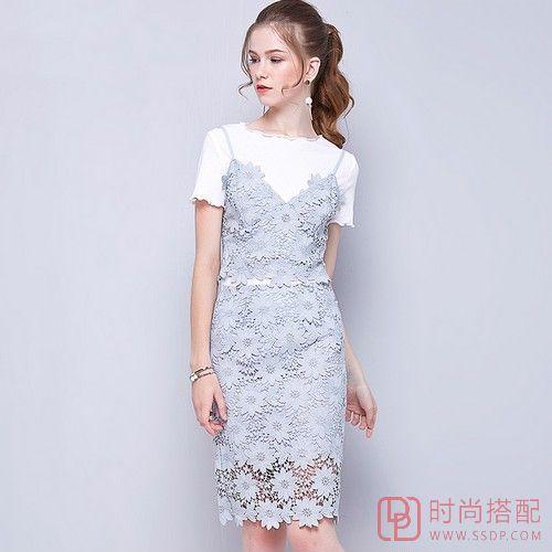蕾丝V领吊带裙两件套裙装第1张