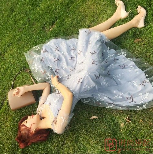 刺绣网纱连衣裙第1张