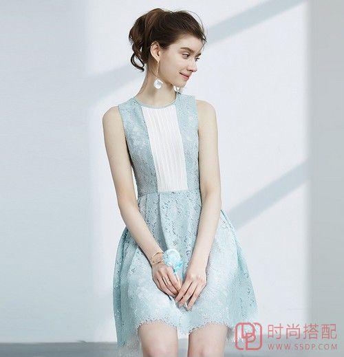 高腰蕾丝无袖连衣裙第1张