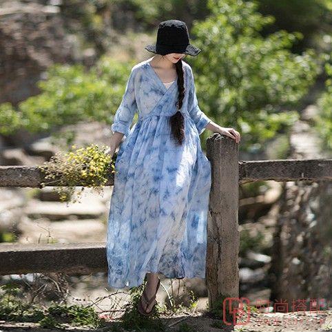 扎染苎麻复古连衣裙第4张