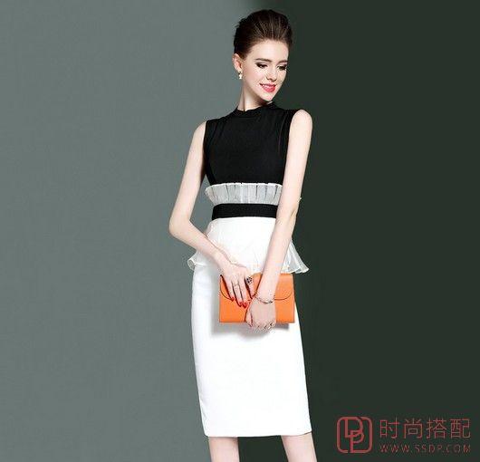 黑白撞色修身无袖包臀连衣裙第1张