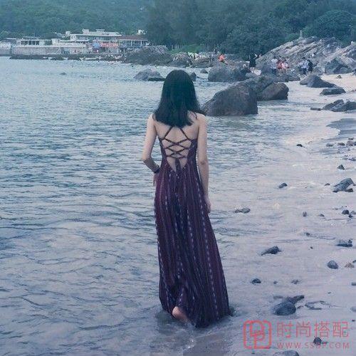 波西米亚露背系带长裙第1张