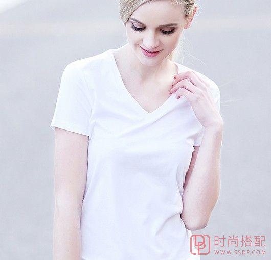 V领纯色短袖T恤第1张
