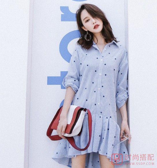印花条纹衬衫裙第2张