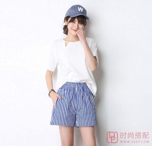 条纹松紧腰休闲短裤