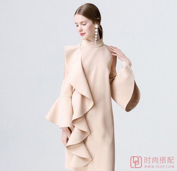 立领纯色喇叭袖连衣裙第8张