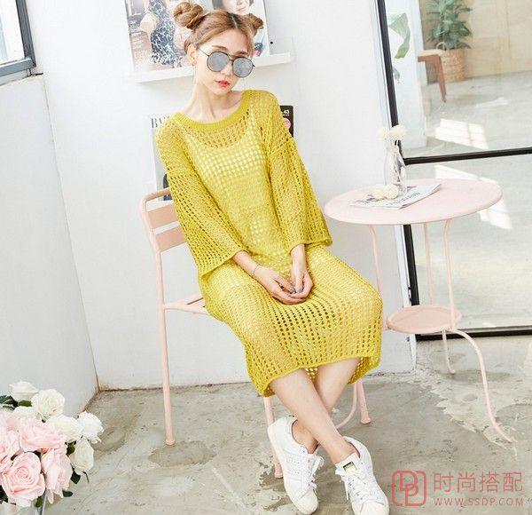 中长款镂空纯色连衣裙第4张