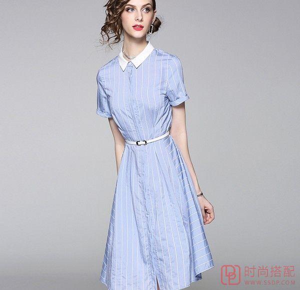翻领条纹收腰衬衫裙第4张