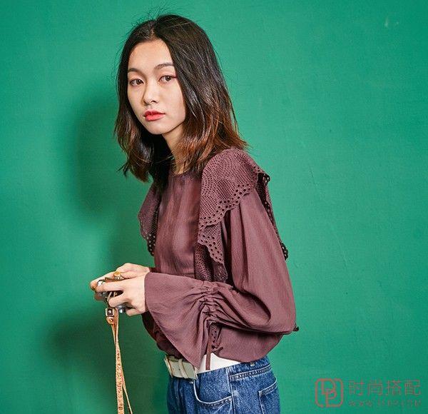 喇叭袖镂空纯色衬衫第2张