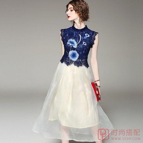 小立领网纱连衣裙第1张