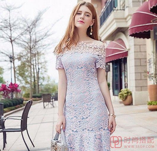 蕾丝短袖一字肩雪纺裙第1张