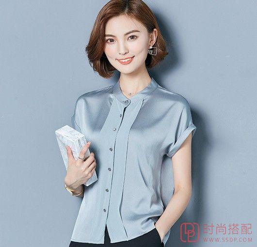 纯色真丝短袖衫第1张