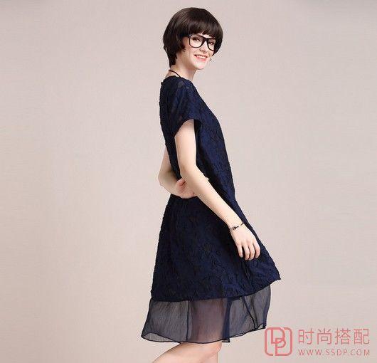 中长款纯色短袖裙
