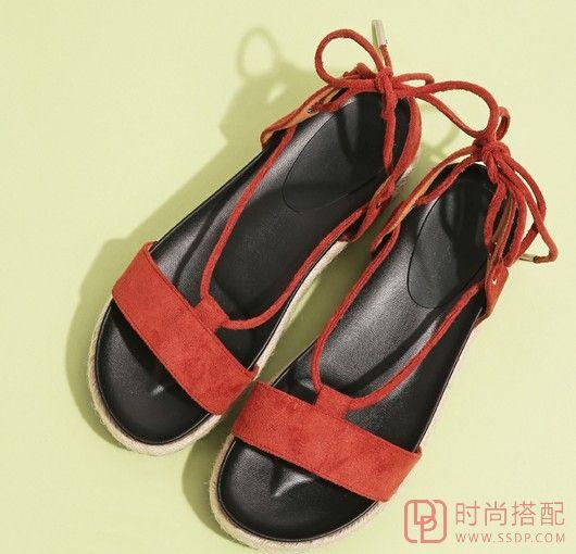 防水台绑带罗马凉鞋第1张