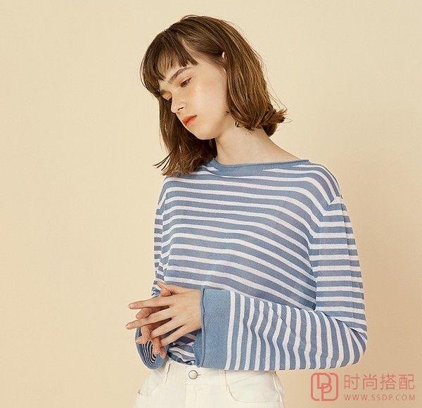 喇叭袖薄款条纹针织衫第4张