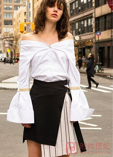 条纹拼接绑带不规则半裙第1张