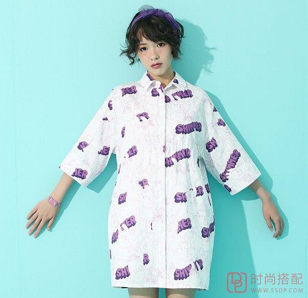 印花中袖衬衫裙第7张