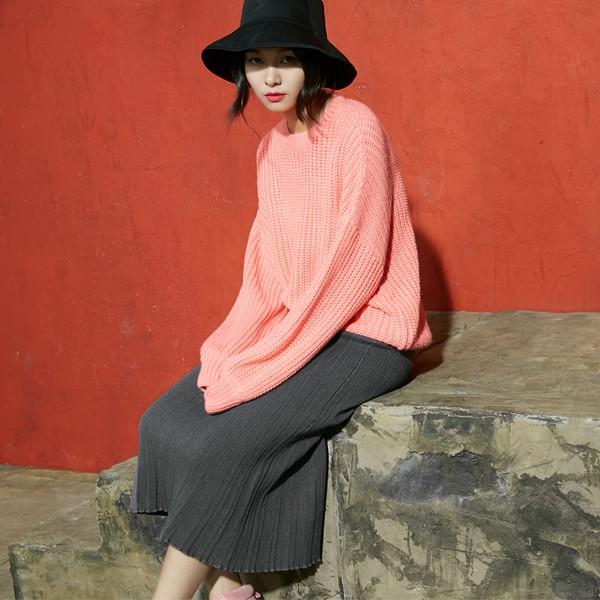 纯色针织半身裙第2张