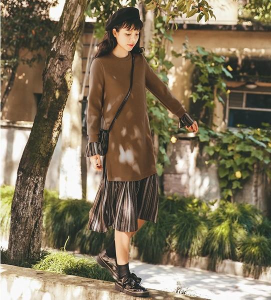 雪纺毛呢连衣裙第1张