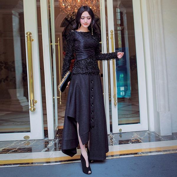 不规则半身裙加厚套装第1张