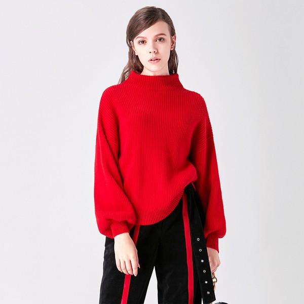 半高领灯笼袖羊毛羊绒针织衫第1张