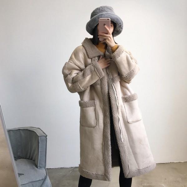 麂皮绒羊糕毛外套第1张