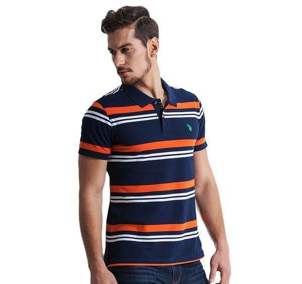 U.S.珠地棉条纹POLO衫第1张