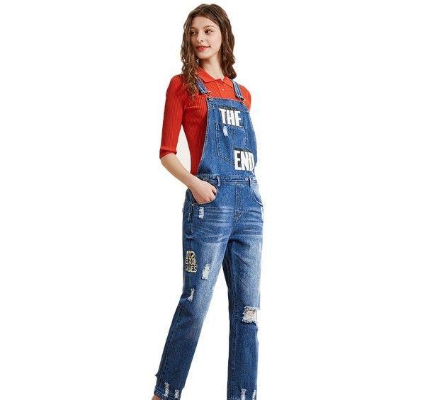 三彩 蓝色破洞背带牛仔裤第1张