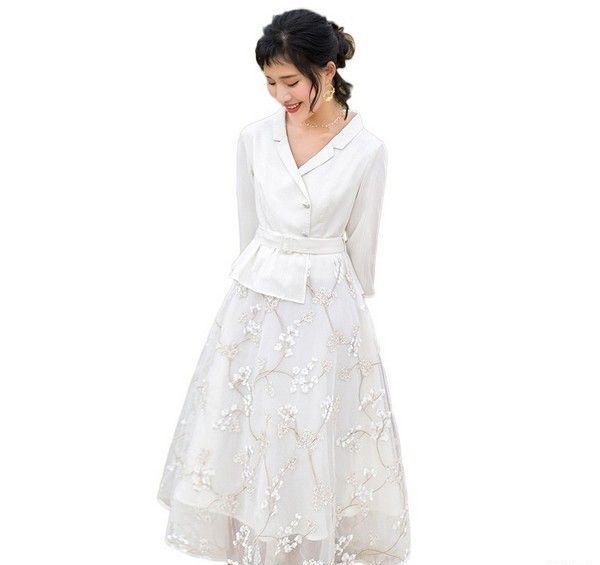 烟花烫 立体花假两件连衣裙第1张