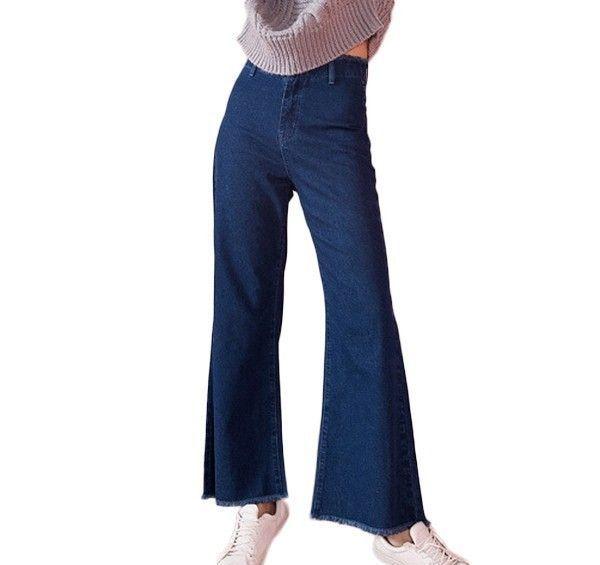 森宿 蓝色阔腿毛边牛仔喇叭裤第1张